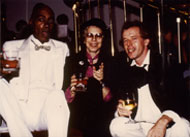 Shirley Clarke with friends at the opening of Ornette Made in America, Caravan of Dreams, Fort Worth, Tx. 1985