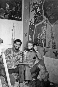 With painter and sculptor Bounar Hassan in Essaouira, Marocco, 1973